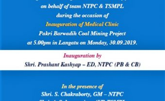 Invitation for the Inauguration Ceremony of Medical Clinic at PB Coal Mining Project.